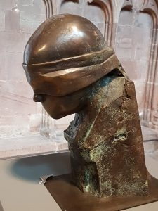 A close up of a maquette (model) of the memorial statue, taken on display in Lichfield Cathedral.